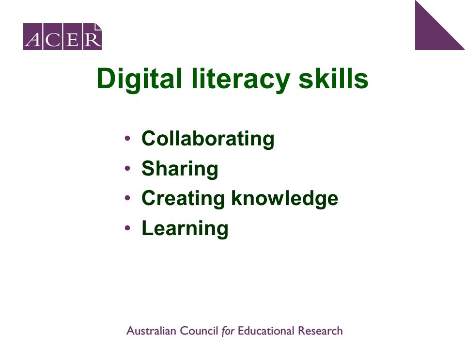 Digital literacy skills Collaborating Sharing Creating knowledge Learning