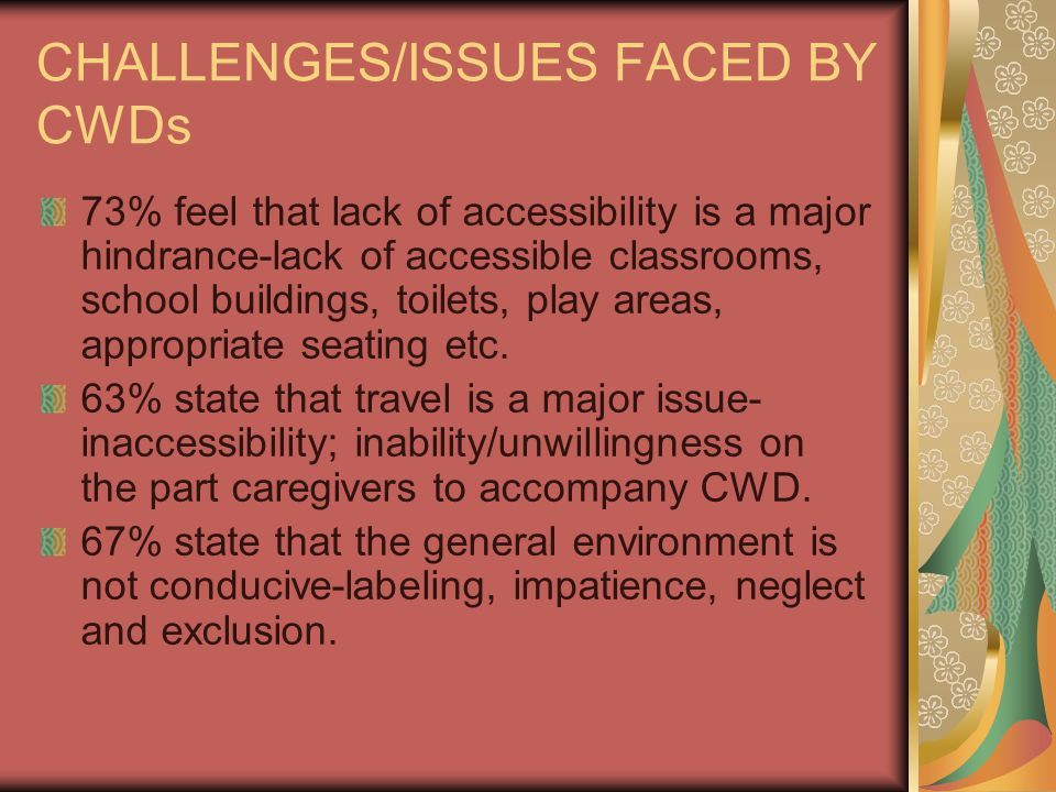 CHALLENGES/ISSUES FACED BY CWDs 73% feel that lack of accessibility is a major hindrance-lack of accessible classrooms, school buildings, toilets, play areas, appropriate seating etc.