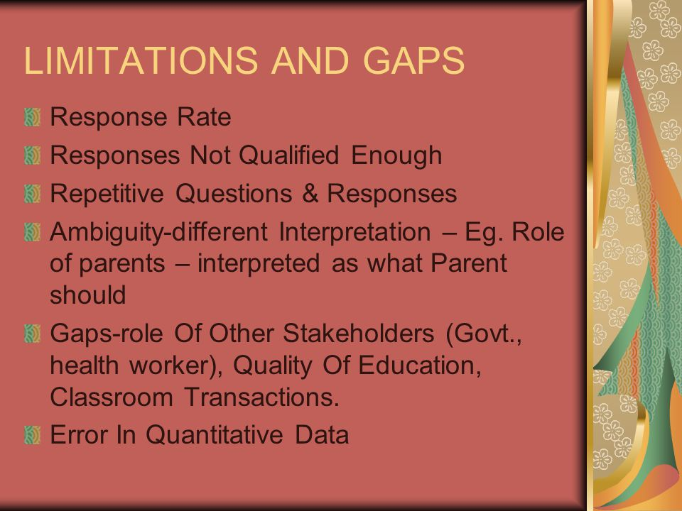 LIMITATIONS AND GAPS Response Rate Responses Not Qualified Enough Repetitive Questions & Responses Ambiguity-different Interpretation – Eg.
