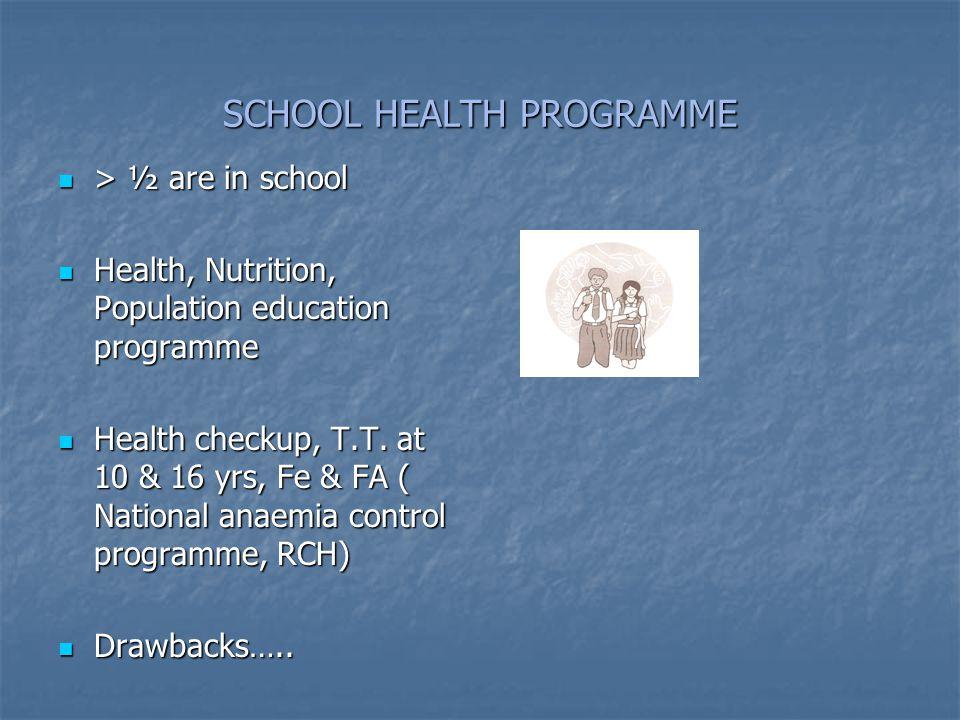 SCHOOL HEALTH PROGRAMME > ½ are in school > ½ are in school Health, Nutrition, Population education programme Health, Nutrition, Population education programme Health checkup, T.T.