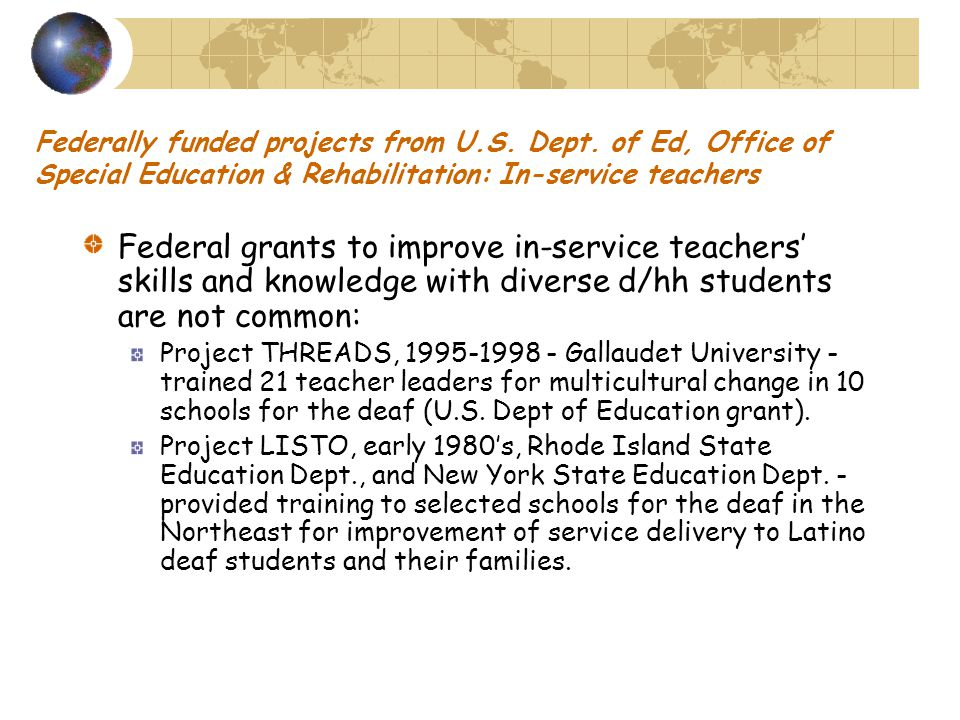 Federally funded projects from U.S. Dept.