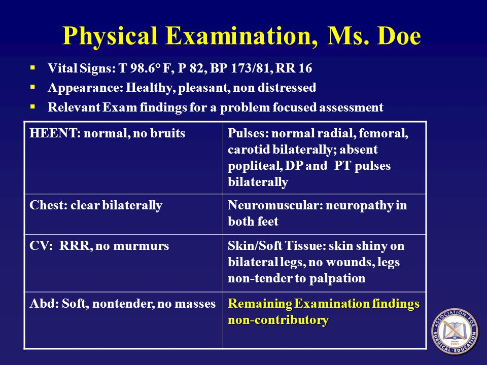 Physical Examination, Ms. Doe Vital Signs: T 98.6° F, P 82, BP 173/81, RR 16 Appearance: Healthy, pleasant, non distressed Relevant Exam findings for
