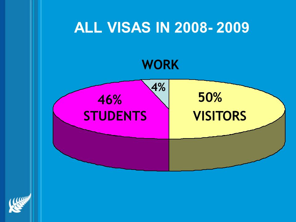 ALL VISAS IN 2008- 2009 VISITORS 50% STUDENTS 46% 4% WORK
