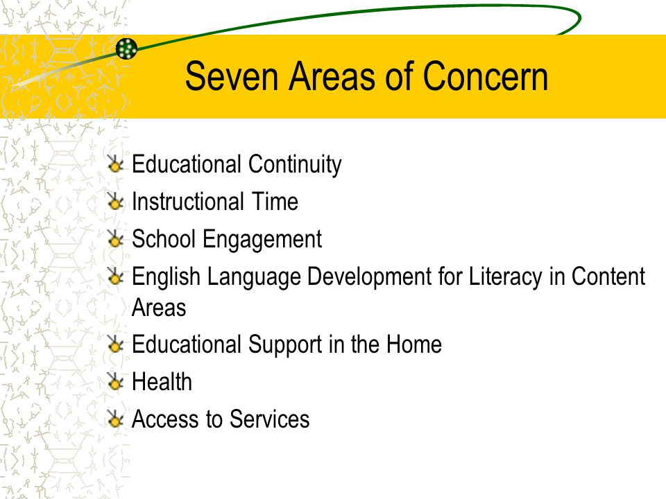Seven Areas of Concern Educational Continuity Instructional Time School Engagement English Language Development for Literacy in Content Areas Educatio