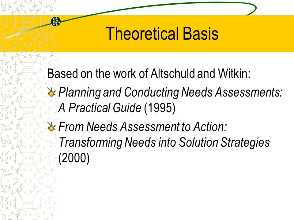 Theoretical Basis Based on the work of Altschuld and Witkin: Planning and Conducting Needs Assessments: A Practical Guide (1995) From Needs Assessment