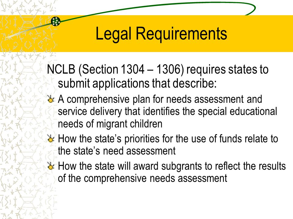 Legal Requirements NCLB (Section 1304 – 1306) requires states to submit applications that describe: A comprehensive plan for needs assessment and serv