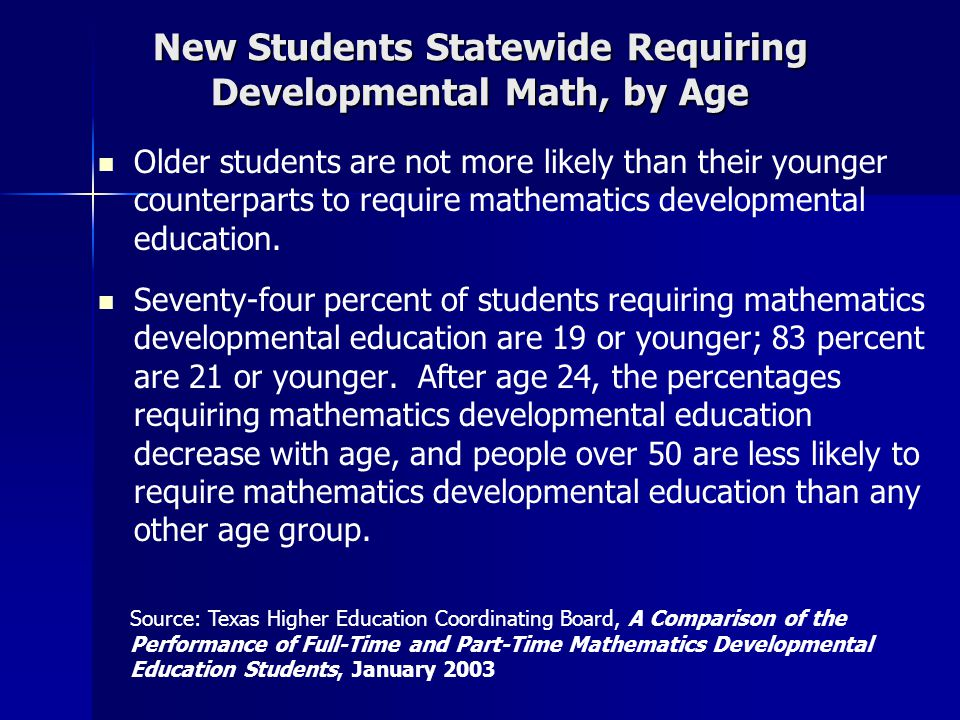 New Students Statewide Requiring Developmental Math, by Age Older students are not more likely than their younger counterparts to require mathematics developmental education.