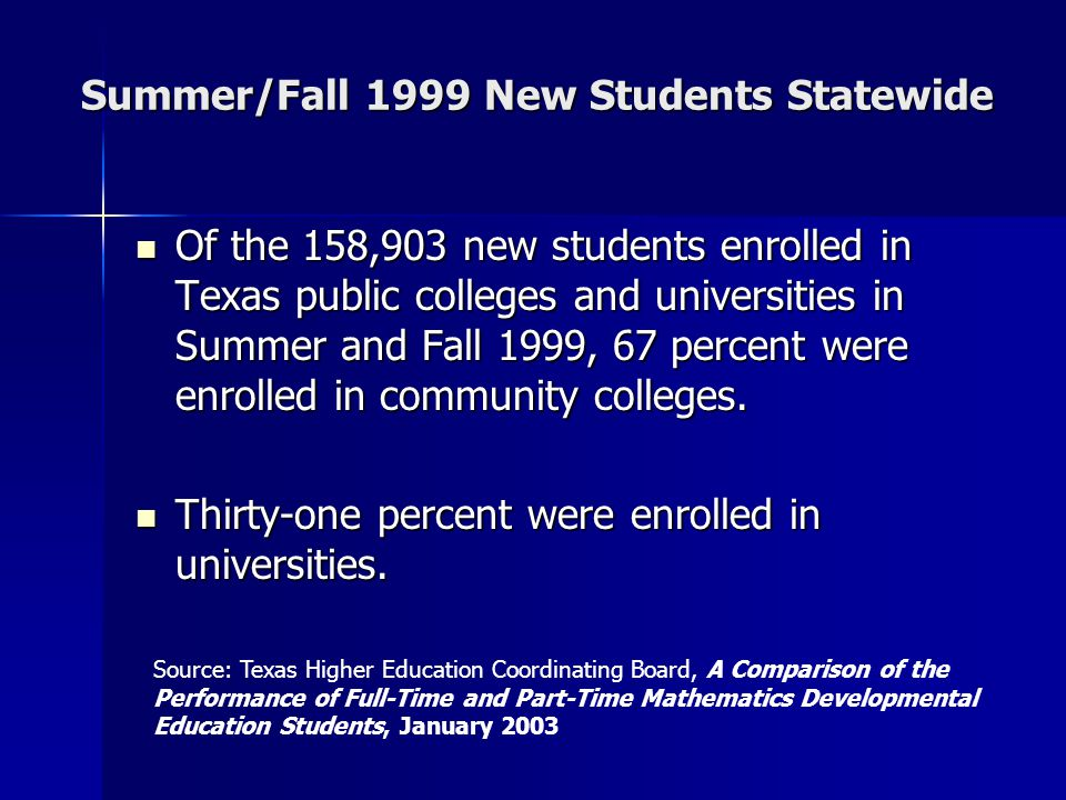 Summer/Fall 1999 New Students Statewide