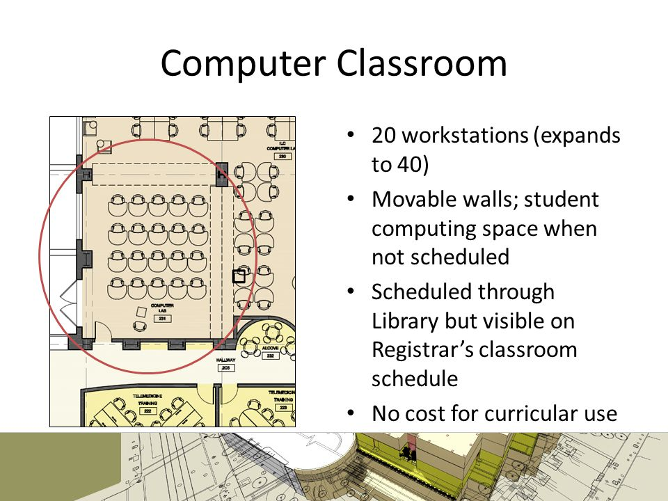 Computer Classroom 20 workstations (expands to 40) Movable walls; student computing space when not scheduled Scheduled through Library but visible on Registrars classroom schedule No cost for curricular use