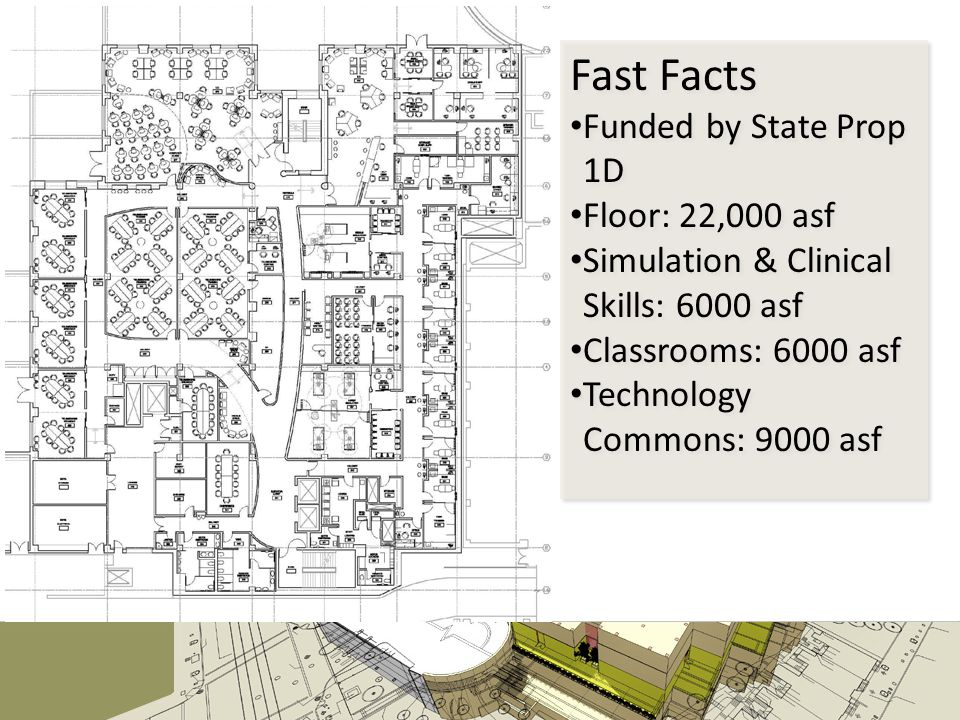 Fast Facts Funded by State Prop 1D Floor: 22,000 asf Simulation & Clinical Skills: 6000 asf Classrooms: 6000 asf Technology Commons: 9000 asf Fast Facts Funded by State Prop 1D Floor: 22,000 asf Simulation & Clinical Skills: 6000 asf Classrooms: 6000 asf Technology Commons: 9000 asf