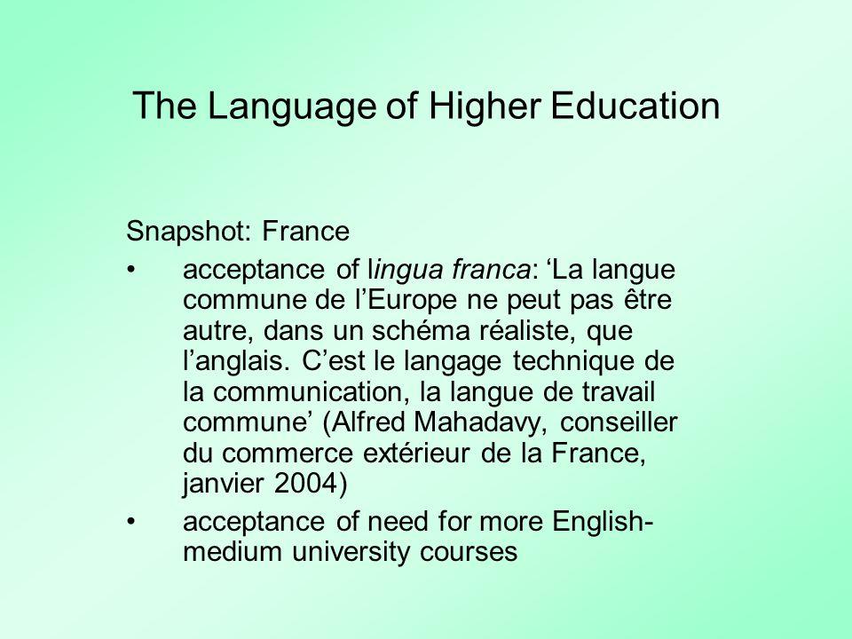 The Language of Higher Education Snapshot: France acceptance of lingua franca: La langue commune de lEurope ne peut pas être autre, dans un schéma réaliste, que langlais.