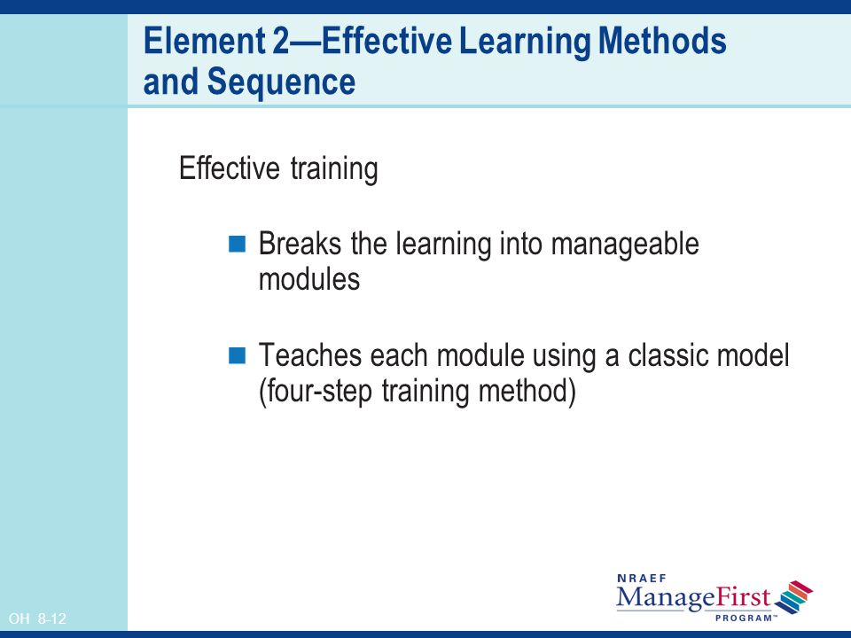 OH 8-12 Element 2Effective Learning Methods and Sequence Effective training Breaks the learning into manageable modules Teaches each module using a cl