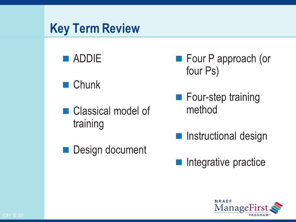 OH 8-30 Key Term Review ADDIE Chunk Classical model of training Design document Four P approach (or four Ps) Four-step training method Instructional design Integrative practice