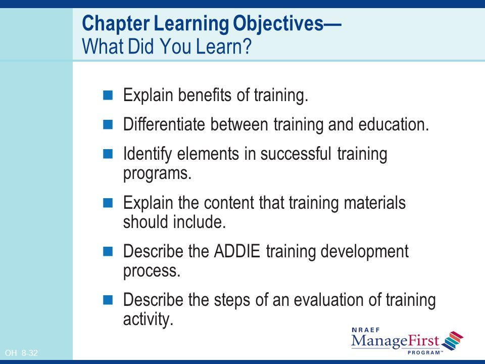OH 8-32 Chapter Learning Objectives What Did You Learn.