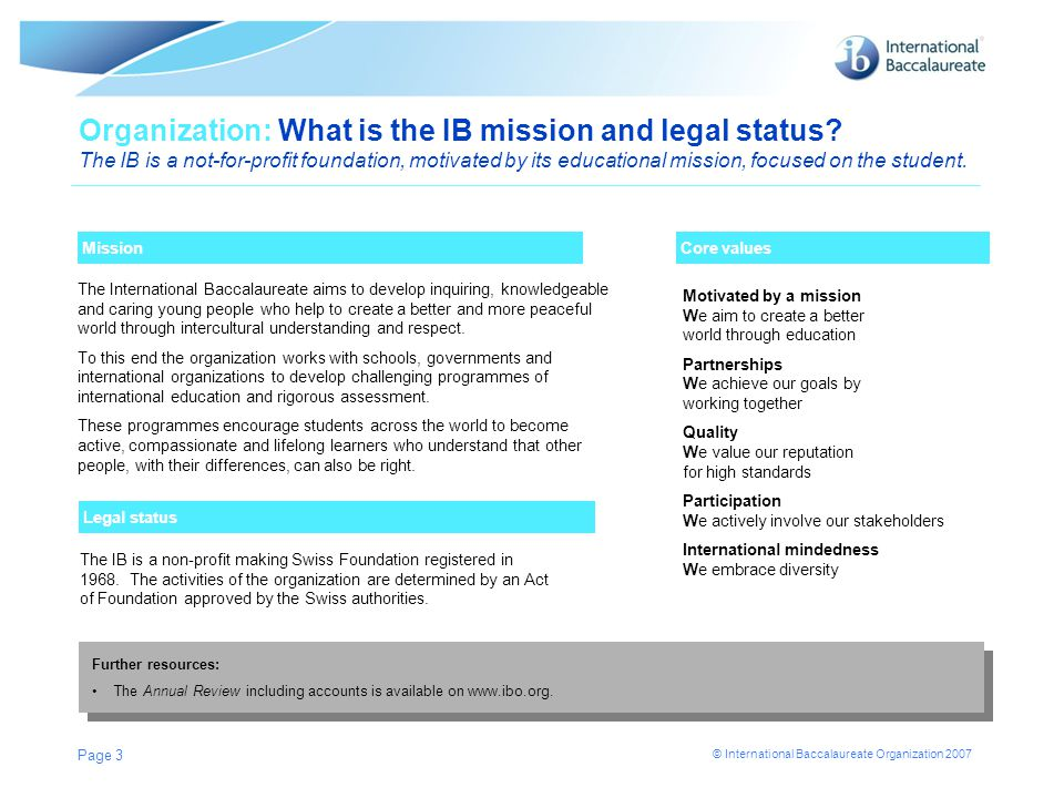 © International Baccalaureate Organization 2007 Page 3 Mission Organization: What is the IB mission and legal status? The IB is a not-for-profit found