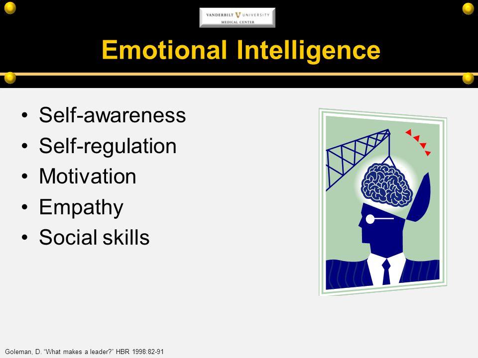 Emotional Intelligence Self-awareness Self-regulation Motivation Empathy Social skills Goleman, D. What makes a leader? HBR 1998:82-91