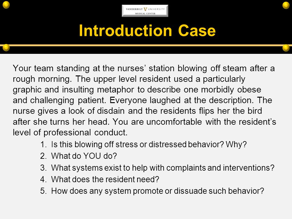 Goals The purpose of this session is to discuss unprofessional and distressed behaviors of resident physicians and discuss and share resources and tools for identifying and assisting residents in need.