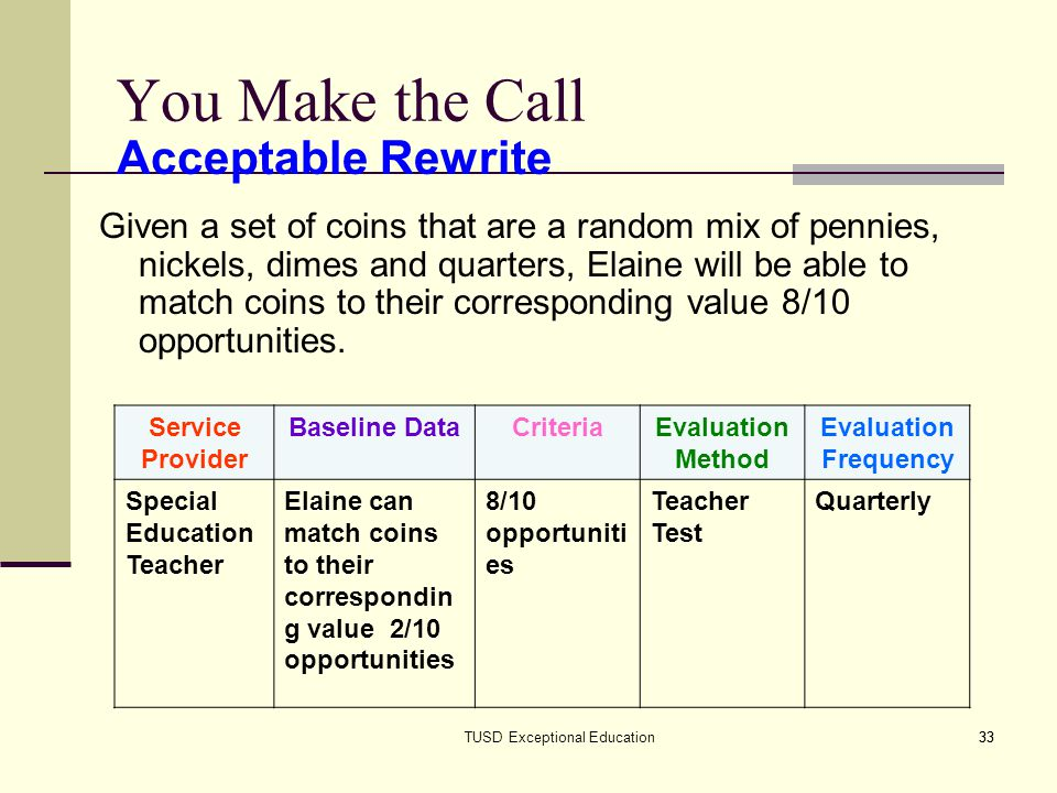 33TUSD Exceptional Education33 You Make the Call Given a set of coins that are a random mix of pennies, nickels, dimes and quarters, Elaine will be able to match coins to their corresponding value 8/10 opportunities.