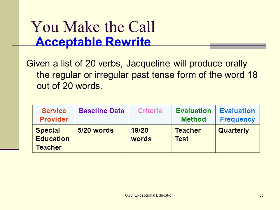 35TUSD Exceptional Education35 You Make the Call Given a list of 20 verbs, Jacqueline will produce orally the regular or irregular past tense form of