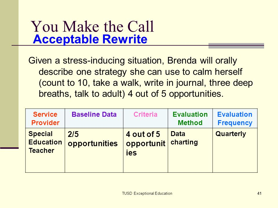 41TUSD Exceptional Education41 You Make the Call Given a stress-inducing situation, Brenda will orally describe one strategy she can use to calm herself (count to 10, take a walk, write in journal, three deep breaths, talk to adult) 4 out of 5 opportunities.