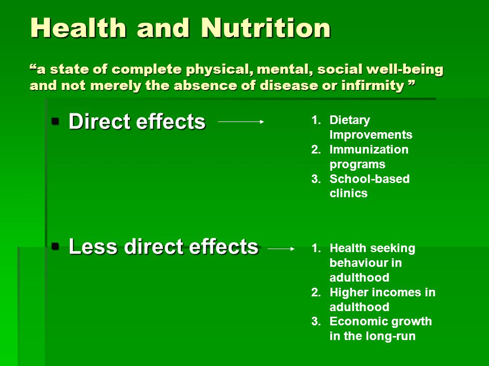 Health and Nutrition a state of complete physical, mental, social well-being and not merely the absence of disease or infirmity Health and Nutrition a state of complete physical, mental, social well-being and not merely the absence of disease or infirmity Direct effects Direct effects Less direct effects Less direct effects 1.Dietary Improvements 2.Immunization programs 3.School-based clinics 1.Health seeking behaviour in adulthood 2.Higher incomes in adulthood 3.Economic growth in the long-run