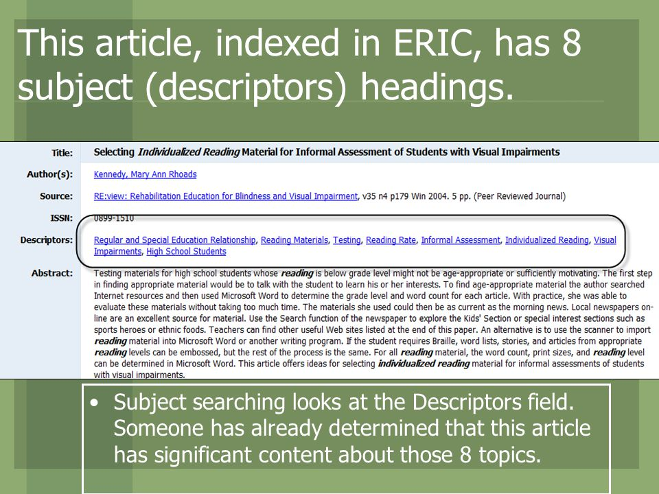 This article, indexed in ERIC, has 8 subject (descriptors) headings.