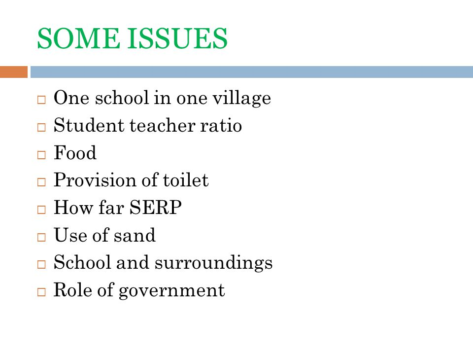 SOME ISSUES One school in one village Student teacher ratio Food Provision of toilet How far SERP Use of sand School and surroundings Role of government