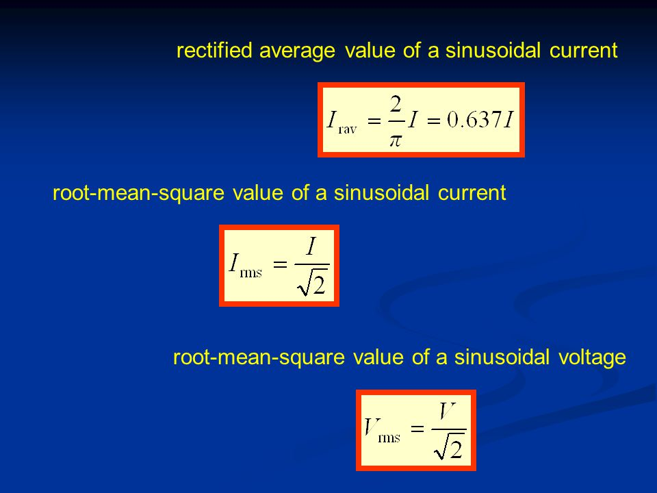 rectified average value of a sinusoidal current root-mean-square value of a sinusoidal current root-mean-square value of a sinusoidal voltage