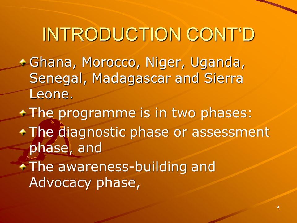 INTRODUCTION CONTD Ghana, Morocco, Niger, Uganda, Senegal, Madagascar and Sierra Leone.