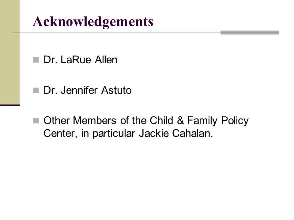 Acknowledgements Dr. LaRue Allen Dr.