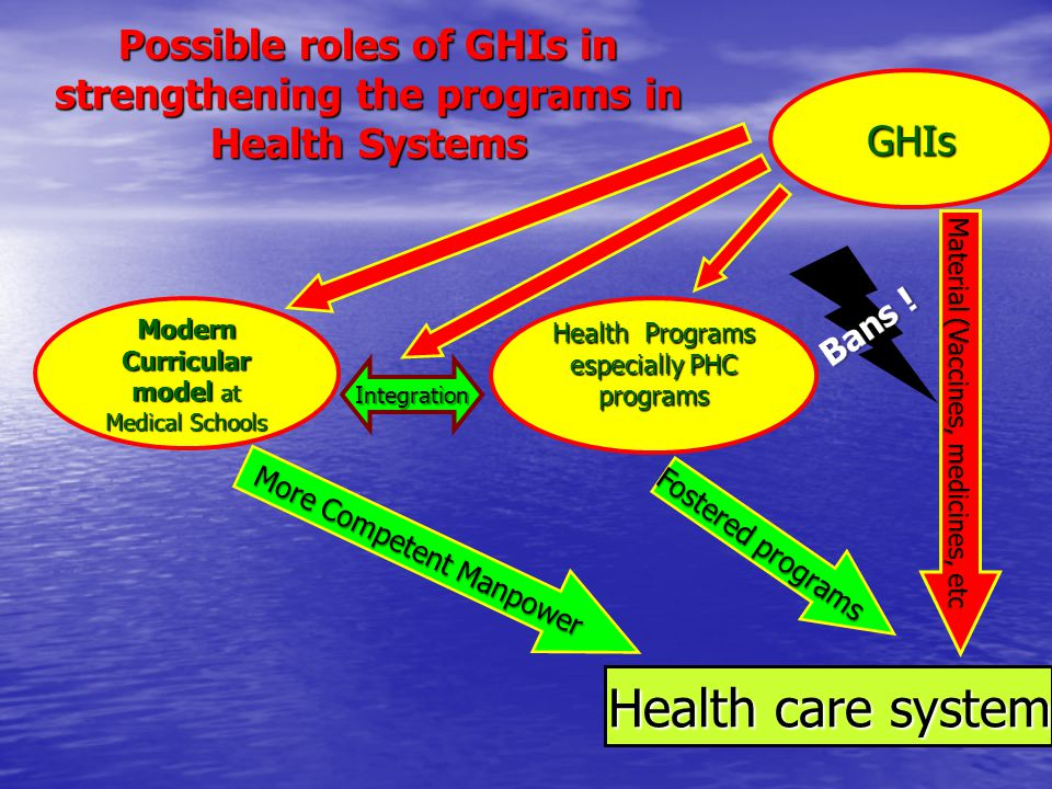 Possible roles of GHIs in strengthening the programs in Health Systems Modern Curricular model at Medical Schools Health Programs especially PHC programs Health care system More Competent Manpower Fostered programs Integration Material (Vaccines, medicines, etc GHIs