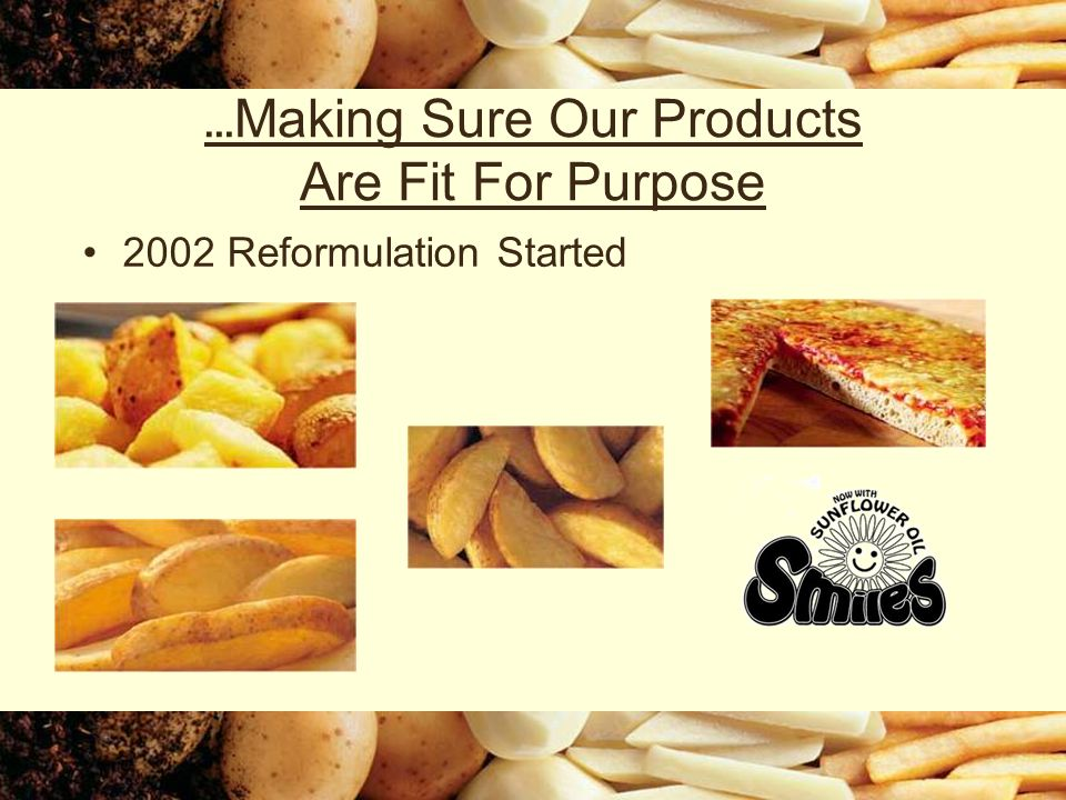 … Making Sure Our Products Are Fit For Purpose 2002 Reformulation Started