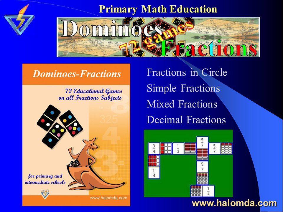 Primary Math Education The package consists 3 titles for primary schools, completely covering the subject of Simple Fractions and Elementary Geometry: Live Fractions Angle-Man Fractions-XPress www.halomda.com Live Fractions