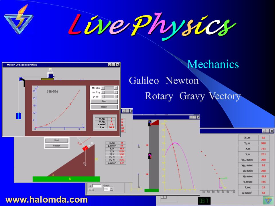 Science Interactive Simulative Laboratory 10 programs in Mechanics Electricity Magnetism Geometrical Optics Waves and Physical Optics www.halomda.com Live Physics