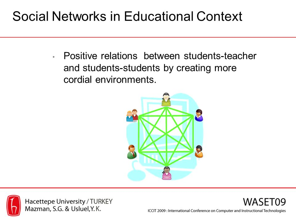 Positive relations between students-teacher and students-students by creating more cordial environments. Social Networks in Educational Context