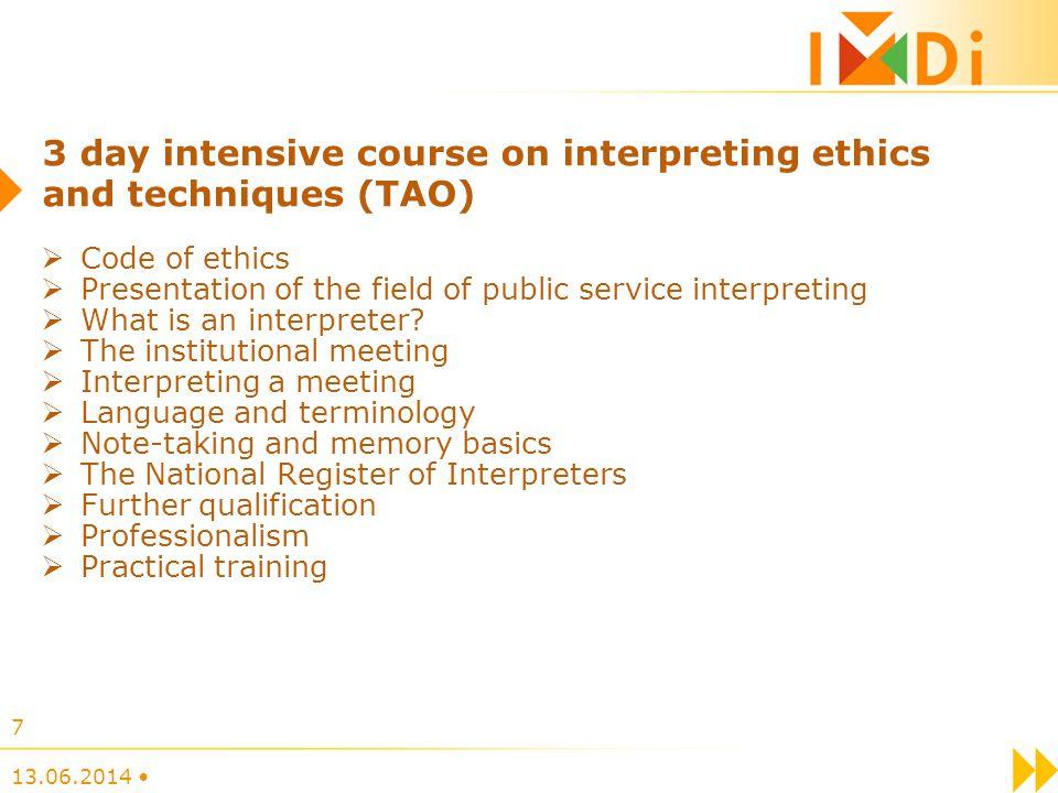 Code of ethics Presentation of the field of public service interpreting What is an interpreter? The institutional meeting Interpreting a meeting Langu
