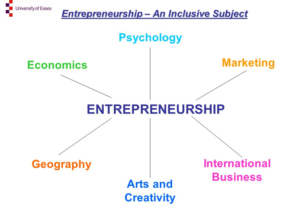 ENTREPRENEURSHIP Entrepreneurship – An Inclusive Subject Economics Geography International Business Marketing Psychology Arts and Creativity