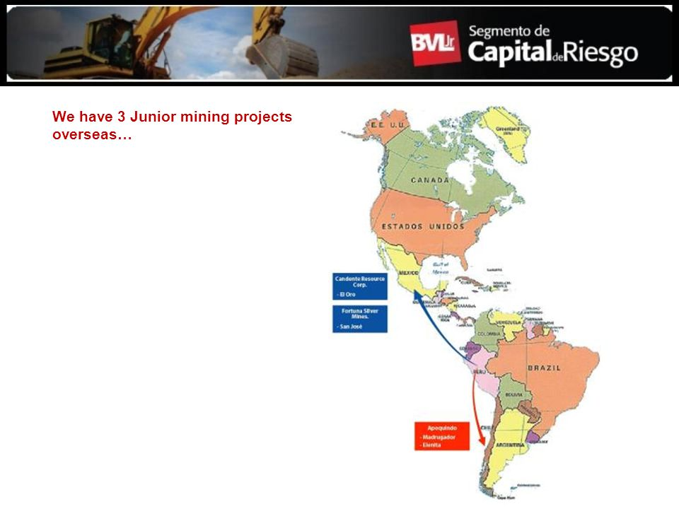 We have 3 Junior mining projects overseas…