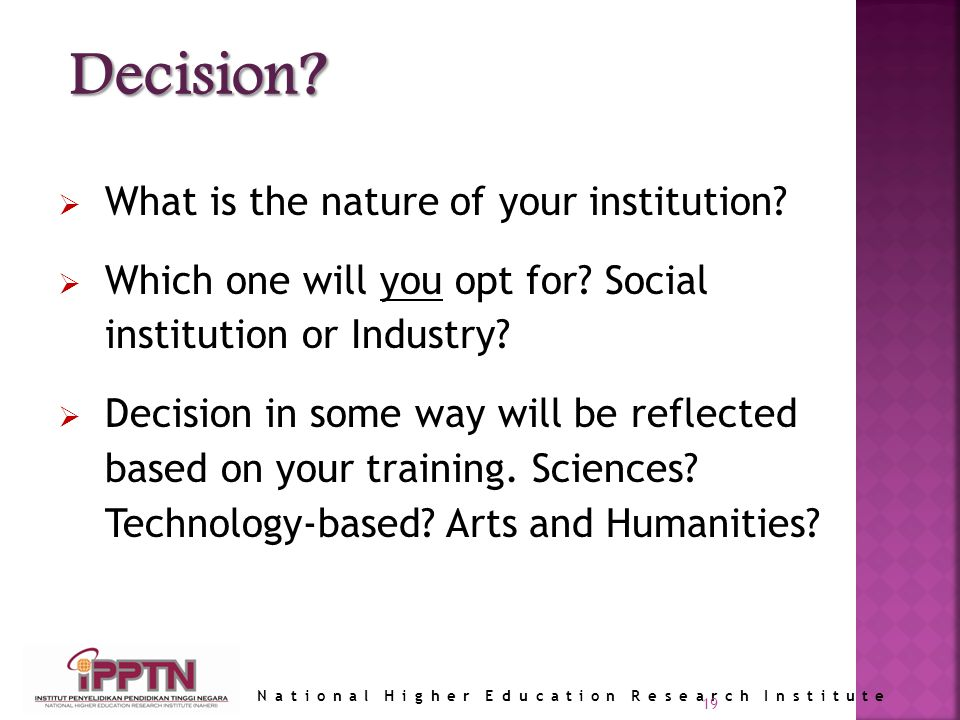 National Higher Education Research Institute What is the nature of your institution.