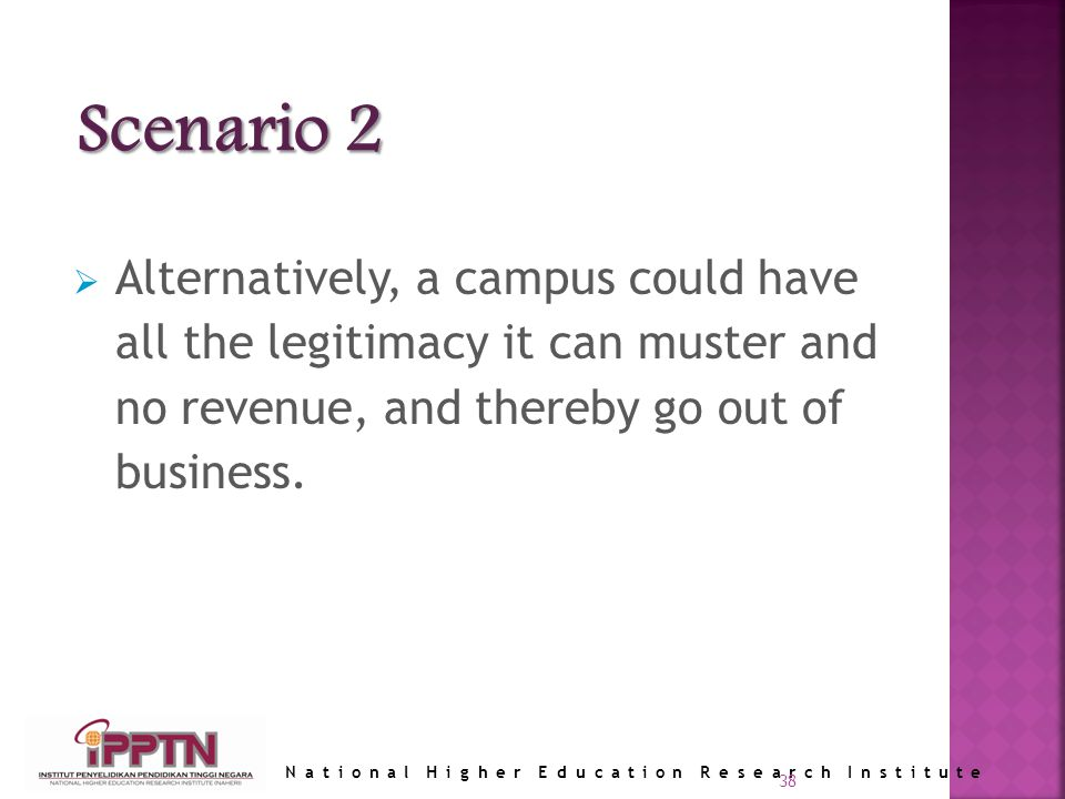 National Higher Education Research Institute 38 Alternatively, a campus could have all the legitimacy it can muster and no revenue, and thereby go out of business.