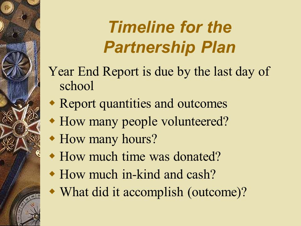 Timeline for the Partnership Plan August and September – Update addresses of continuing partnerships – Complete section on activities planned – Print