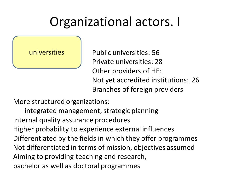 Organizational actors. I universities Public universities: 56 Private universities: 28 Other providers of HE: Not yet accredited institutions: 26 Bran