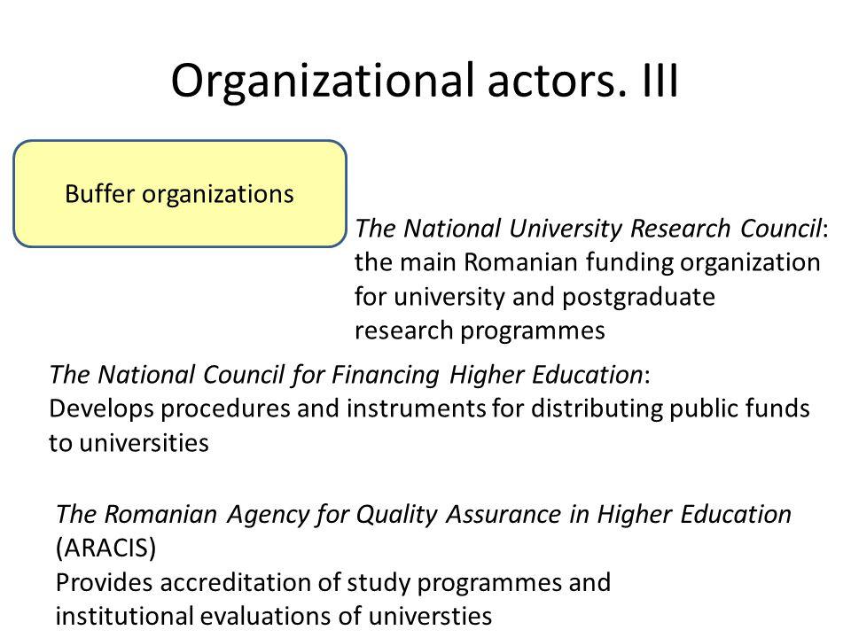Organizational actors. III Buffer organizations The National University Research Council: the main Romanian funding organization for university and po