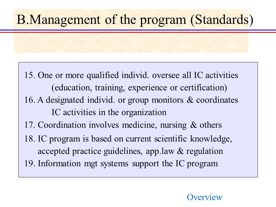 B.Management of the program (Standards) 15.One or more qualified individ.
