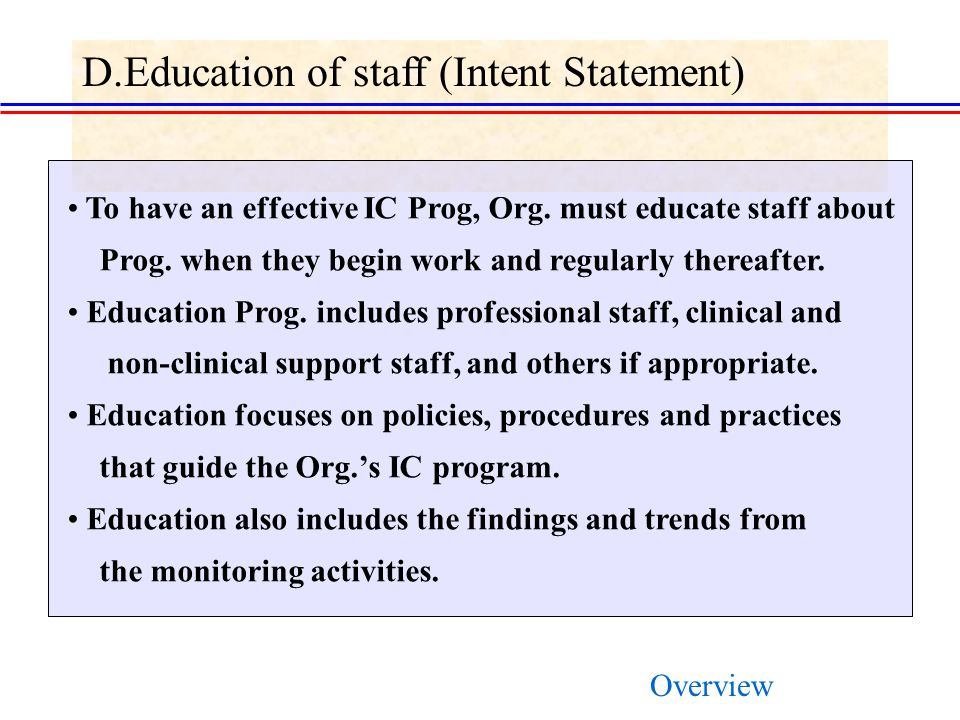 D.Education of staff (Intent Statement) To have an effective IC Prog, Org.
