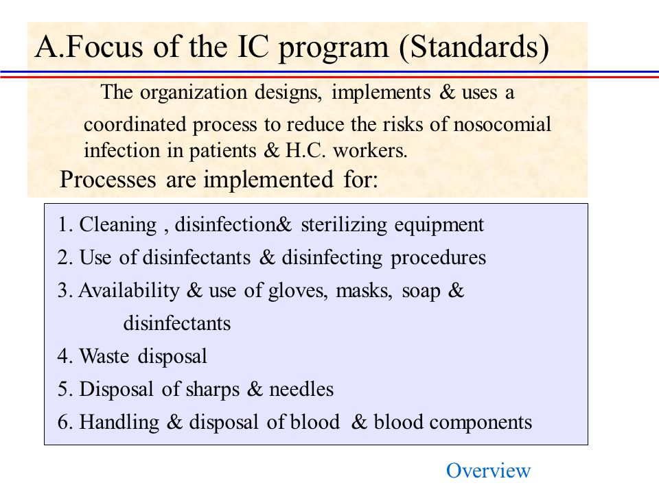 A.Focus of the IC program (Standards) The organization designs, implements & uses a coordinated process to reduce the risks of nosocomial infection in patients & H.C.