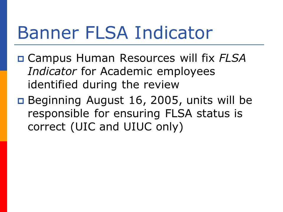 Banner FLSA Indicator Campus Human Resources will fix FLSA Indicator for Academic employees identified during the review Beginning August 16, 2005, units will be responsible for ensuring FLSA status is correct (UIC and UIUC only)