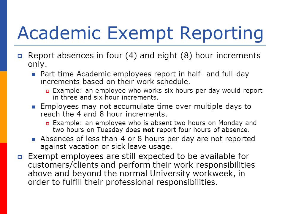 Academic Exempt Reporting Report absences in four (4) and eight (8) hour increments only.