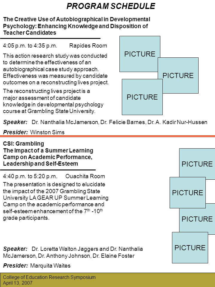 PROGRAM SCHEDULE College of Education Research Symposium April 13, 2007 PICTURE The presentation is designed to elucidate the impact of the 2007 Gramb