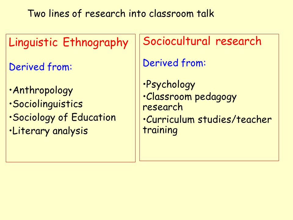 Linguistic ethnographers Studies are: Observational Non-interventional Critical/detached Qualitative Two lines of UK research into classroom talk Sociocultural researchers Studies are: Observational Interventional/quasi- experimental Critical/practical Qualitative+Quantitative
